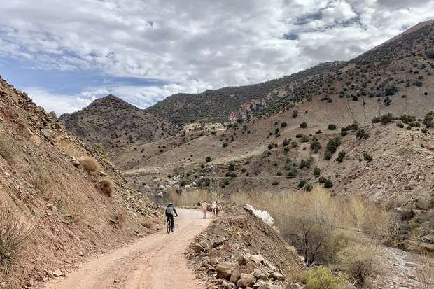 Cyclist in the Atlas Mountains