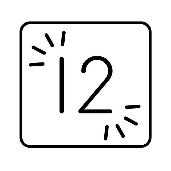 Square icon with number 12