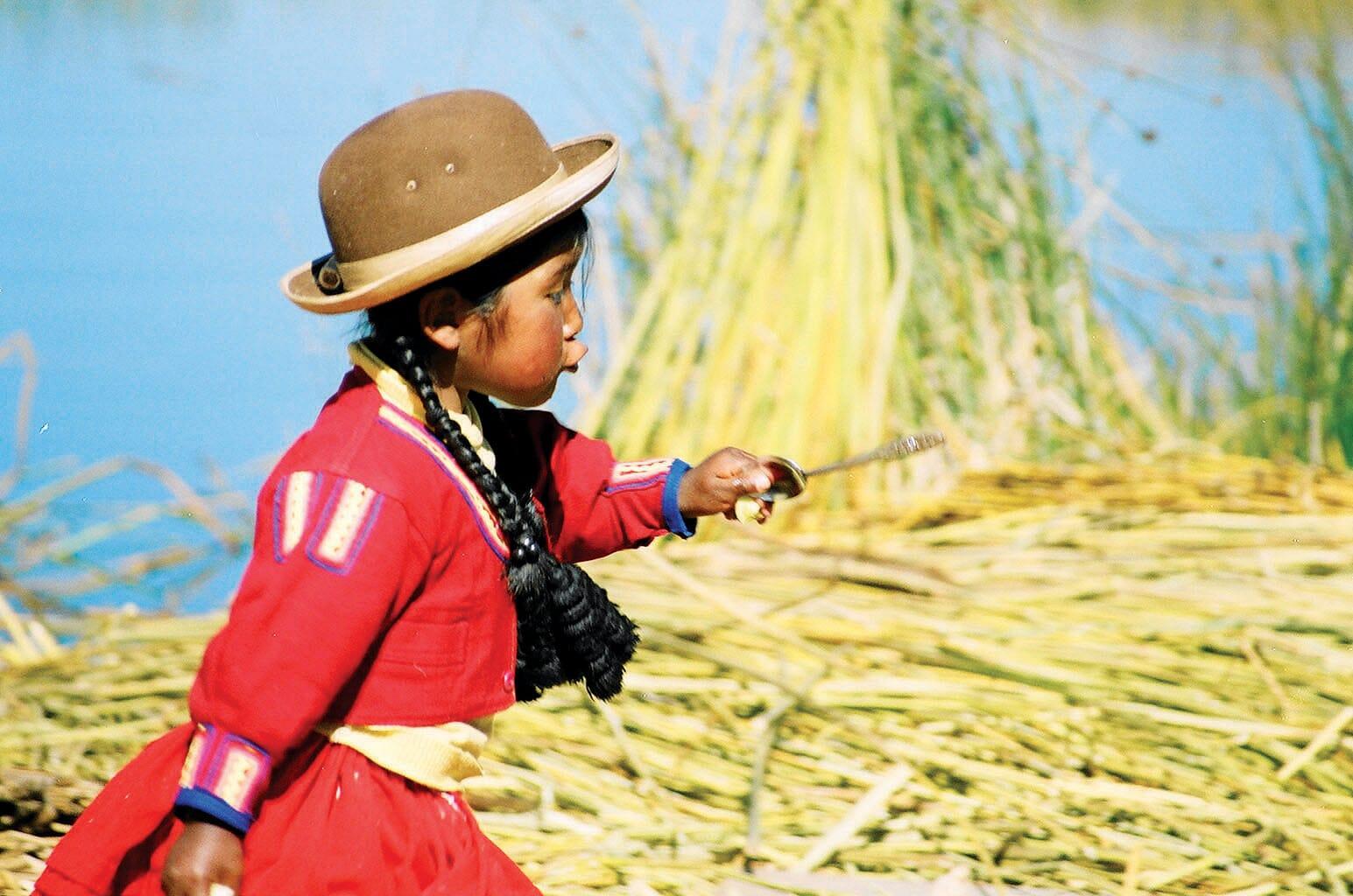 local girl on Lake Titicaca