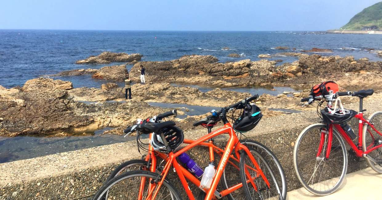 Bikes parked by the sea