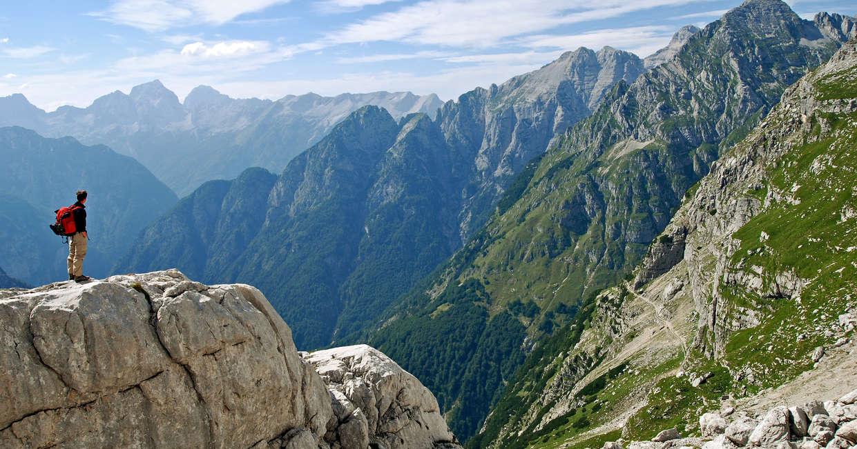Hiker in the Julian Alps