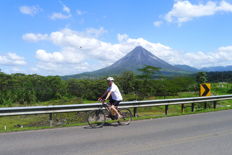 Riding past Arenal Volcano