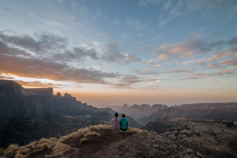 Watching the sunset in the Simien Mountains